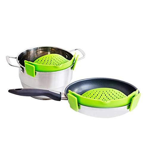 Femora Snaps and Strain Strainer, Clip On Silicone Colander, Fits All Pots and Bowls for Pasta, Spaghetti, Fruits and Ground Beef Grease Water Strainer (Green)