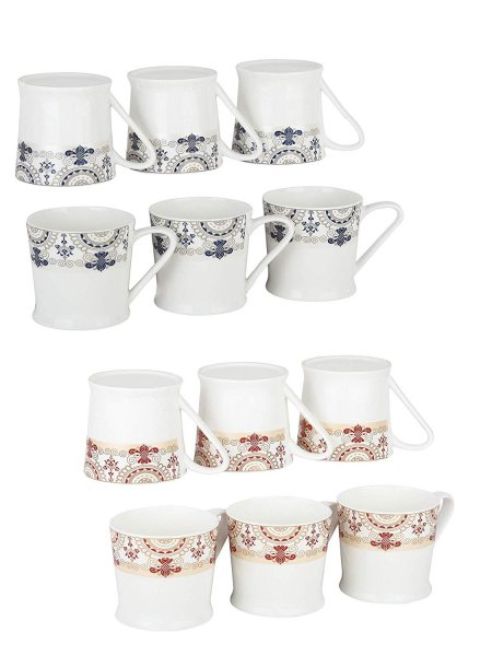 Femora Bone China Floral Red & Blue Border Microwave Safe Tea Cup Coffee Mug, Set of 12, 185ml