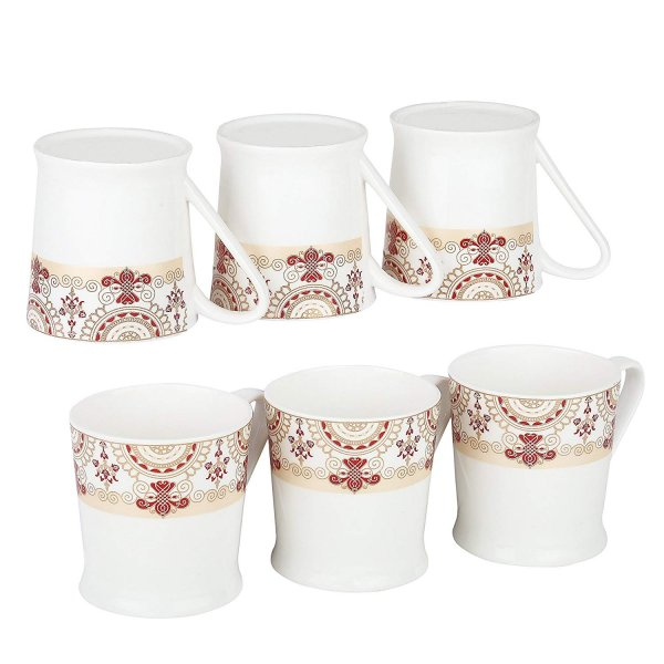 Femora Bone China Red Floral Border Microwave Safe Tea Mug Set , 185 ml