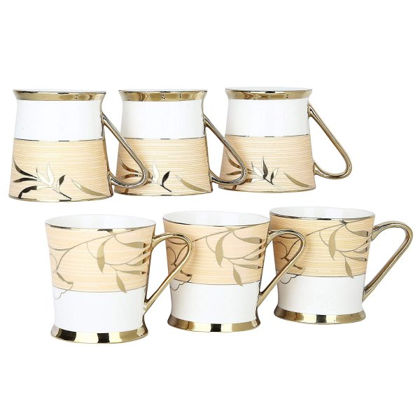 Femora Fine Bone China Premium Gold Tea Cup, Set of 6, 200ml