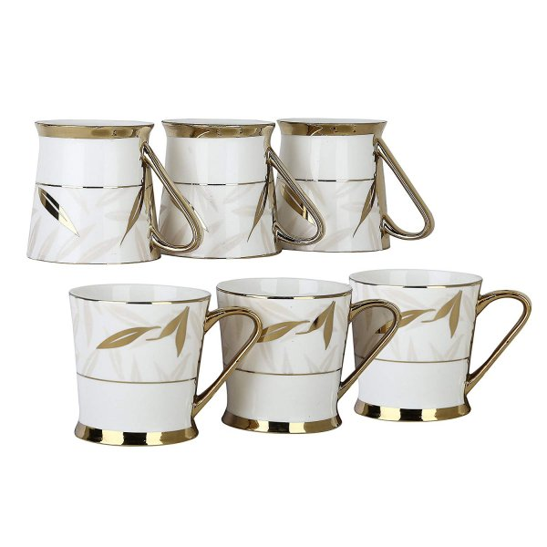 Femora Fine Bone China Premium Gold Tea Mug Set, 200 ml
