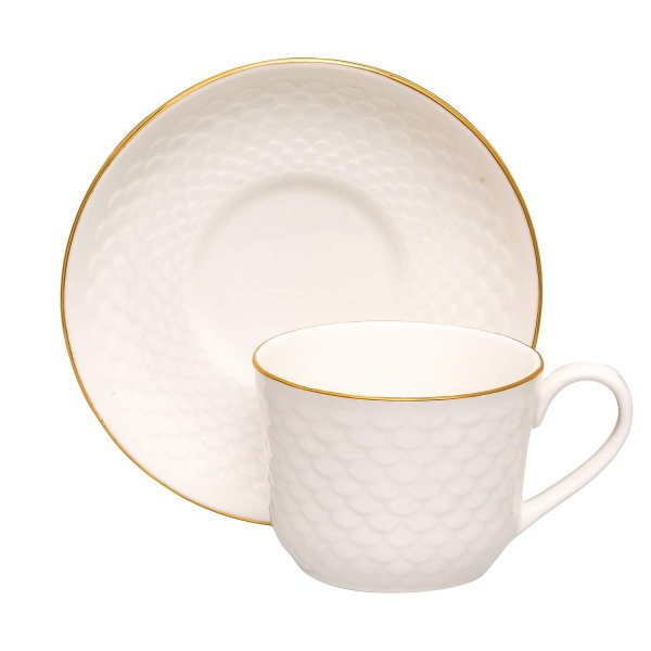 Bone China Dripple Impression Gold Line Cups & Saucers, 200ml