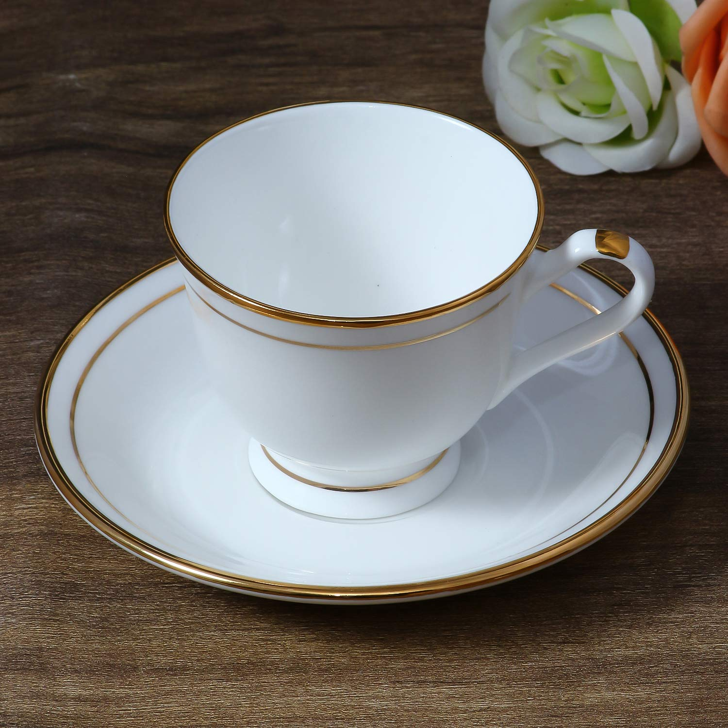 Femora Bone China Geogrian Gold Line Cup and Saucers, Set of 12 (6+6)
