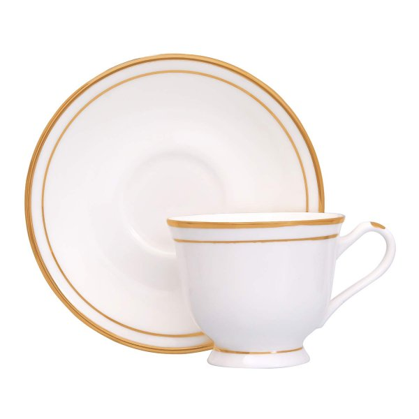 Bone China Geogrian Gold Line Cups & Saucers, 200ml