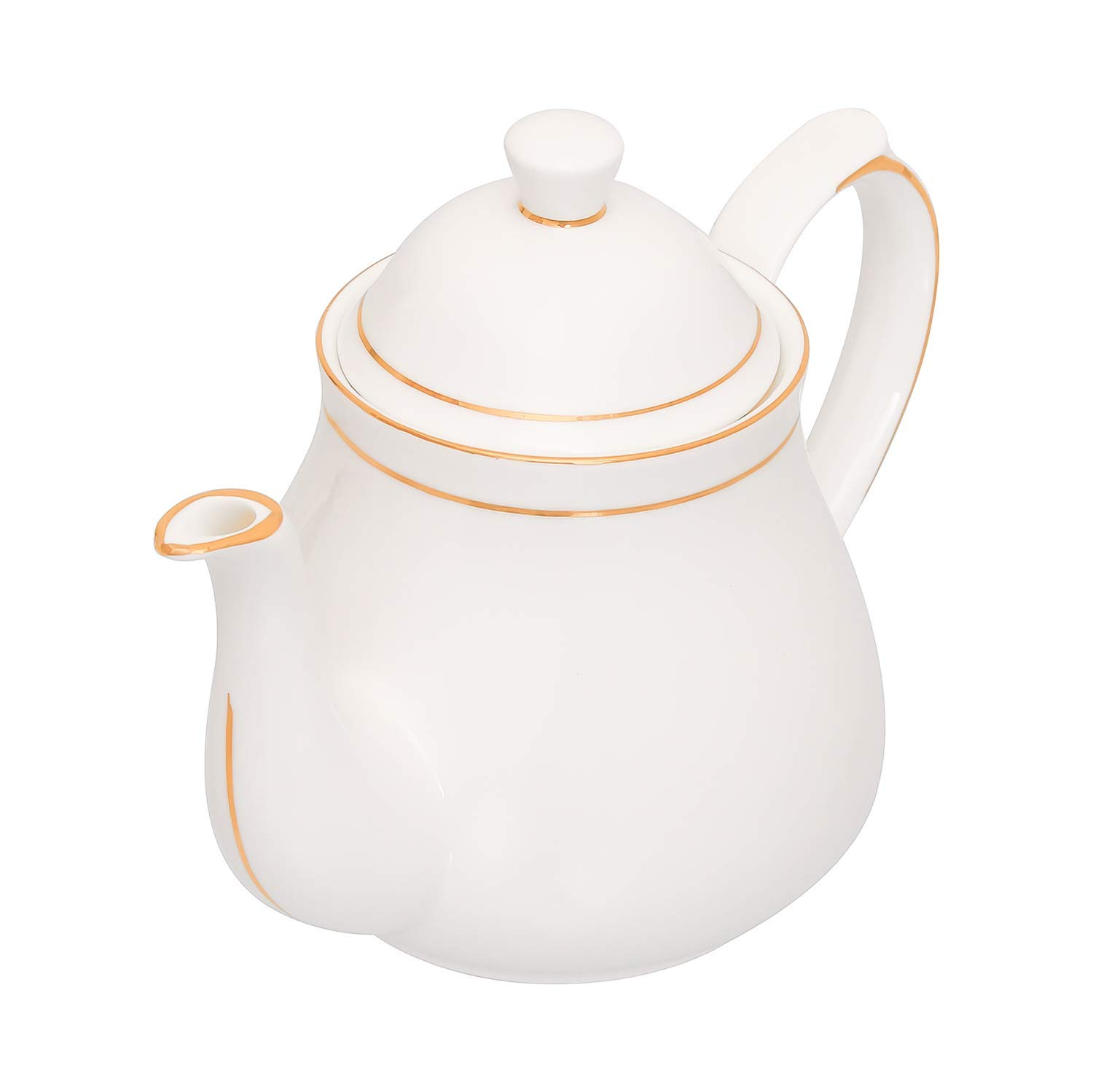 Indian Ceramic Gold Line Tea Kettle for Home - 1000 ML, 1pc, Serving for 5 Person