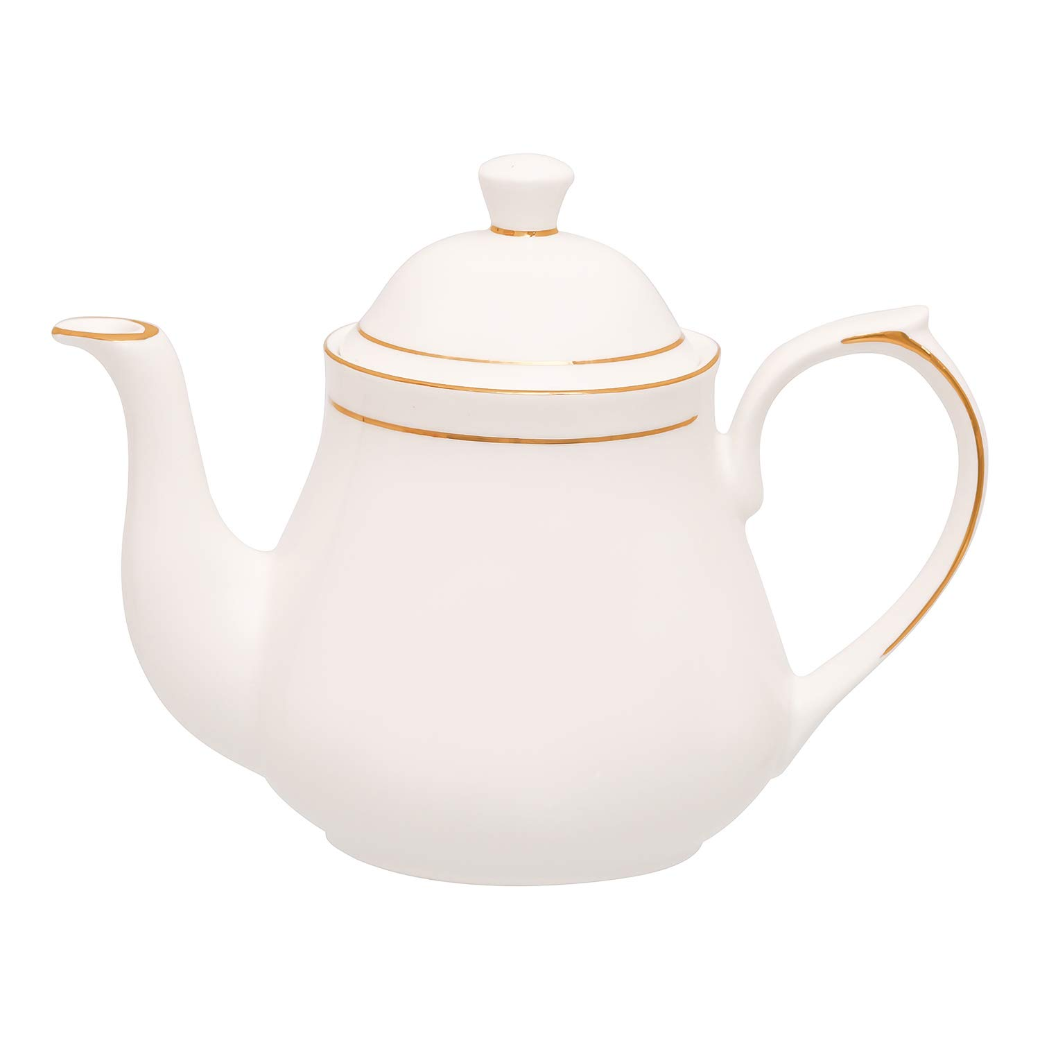 Bone China Gold Line Tea Kettle Tea Pot Home - 600 ML, 1pc, Serving for 3