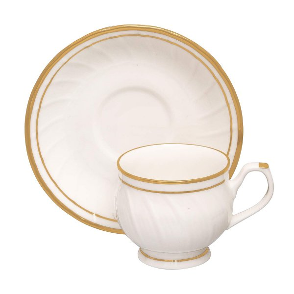 Femora Bone China Karin Gold Line Cup and Saucers, Set of 12 (6+6)