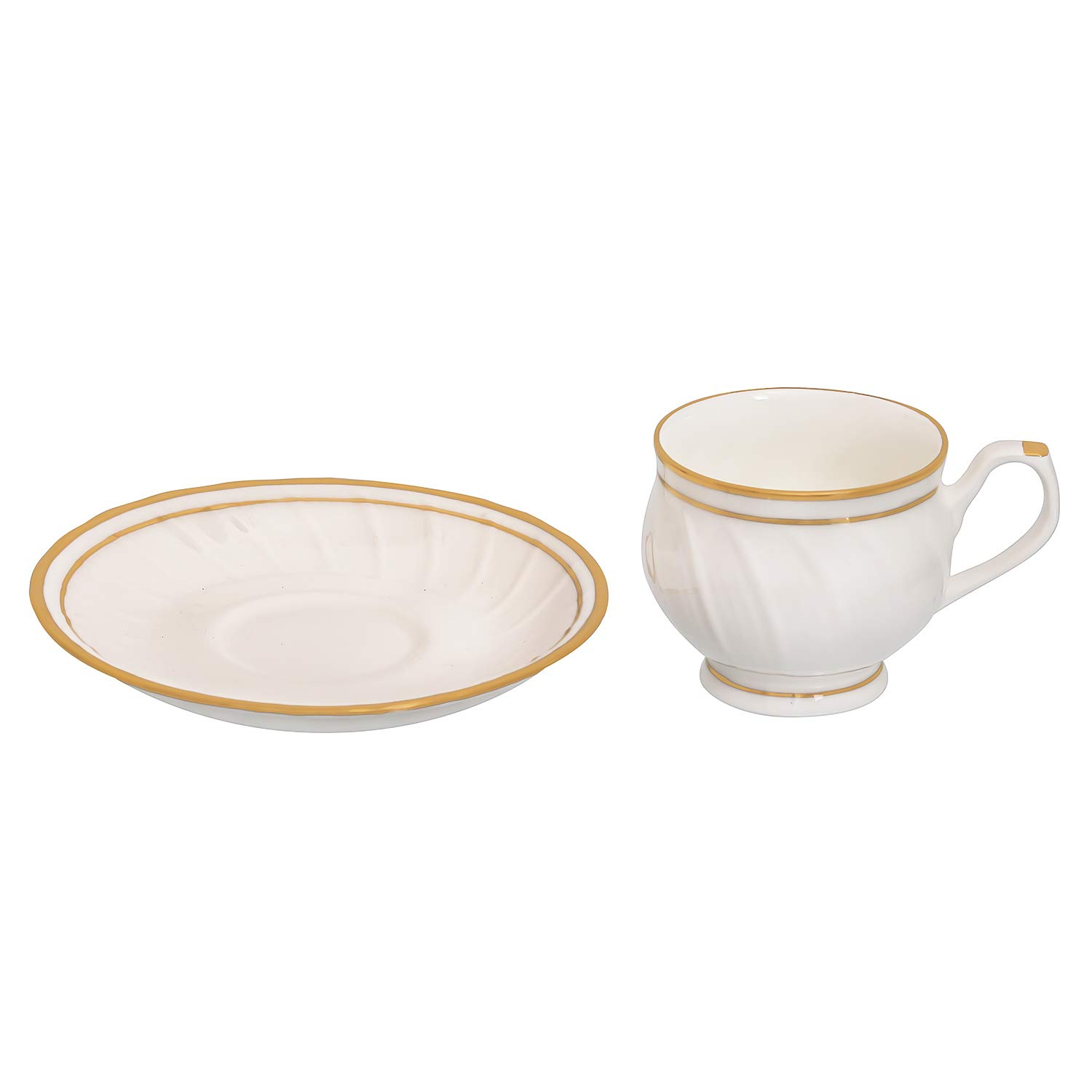 Bone China Karin Gold Line Cups & Saucers, 200 ml