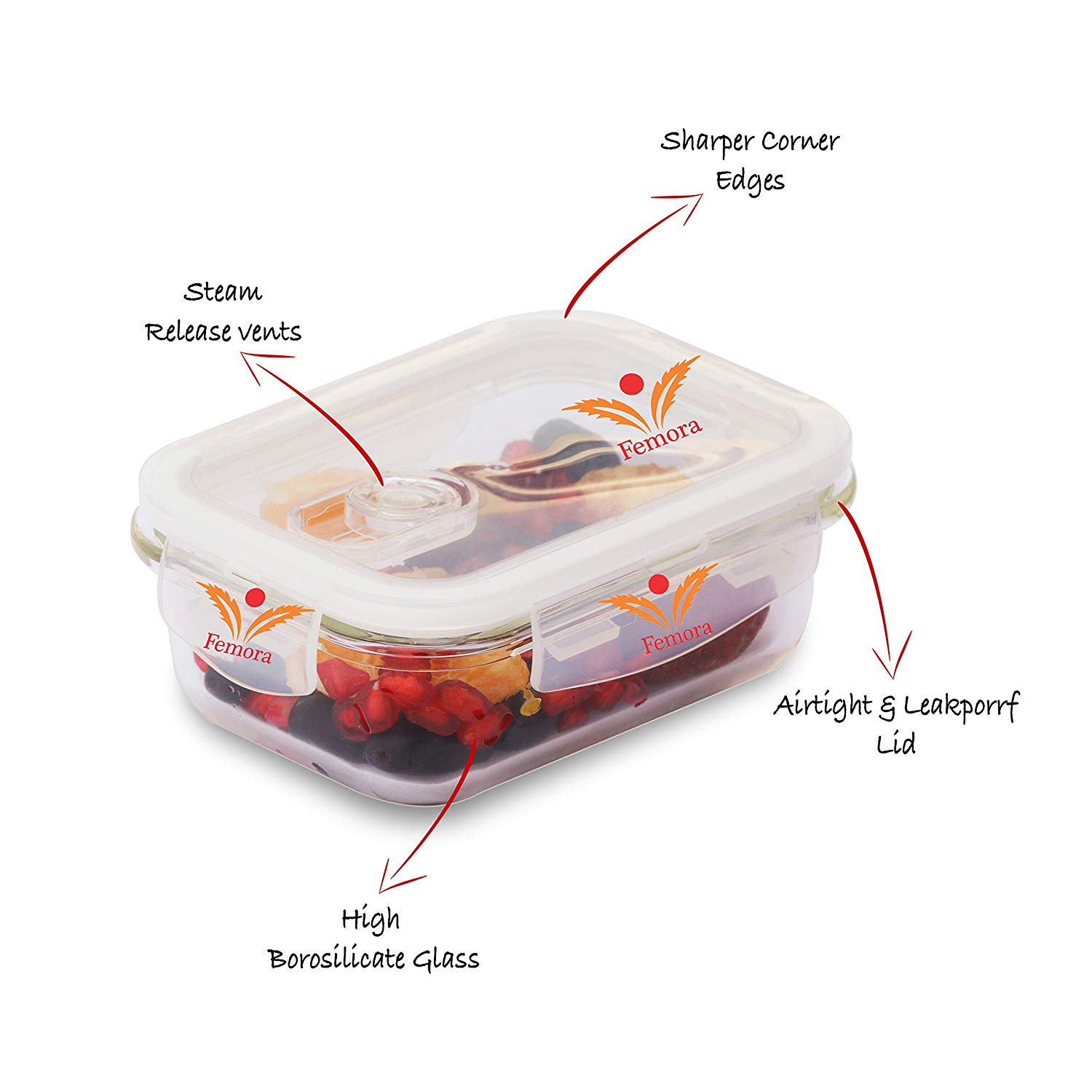 Femora Borosilicate Glass with Air Vent Lid Storage Containers Round, Square, Rectangle Kitchen Set, Transparent-9 Pieces