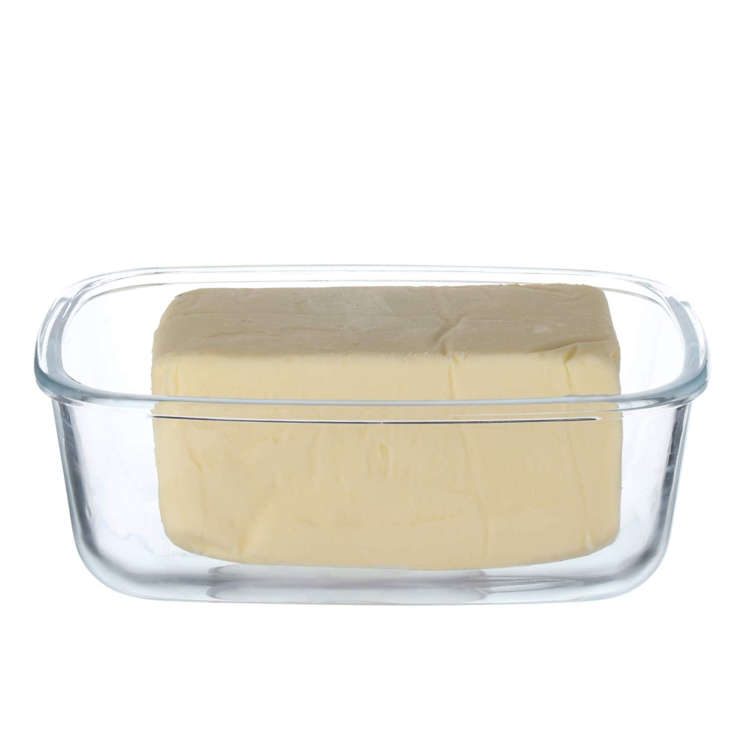 Femora Borosilicate Glass Butter Box Dish, 880 ML, Clear