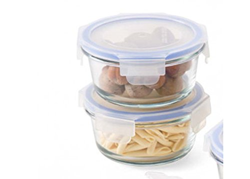 Femora Borosilicate Round Food Storage Container with Lid- Set of 2 ,380 ml, 580 ml