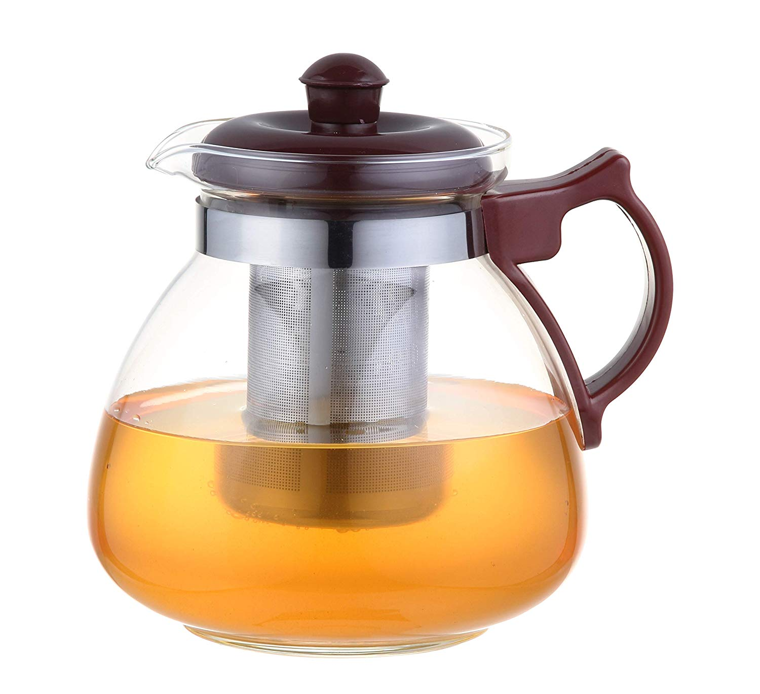 Femora Borosilicate Glass Tea Pot Maroon Carafe with Strainer - 1050 ML