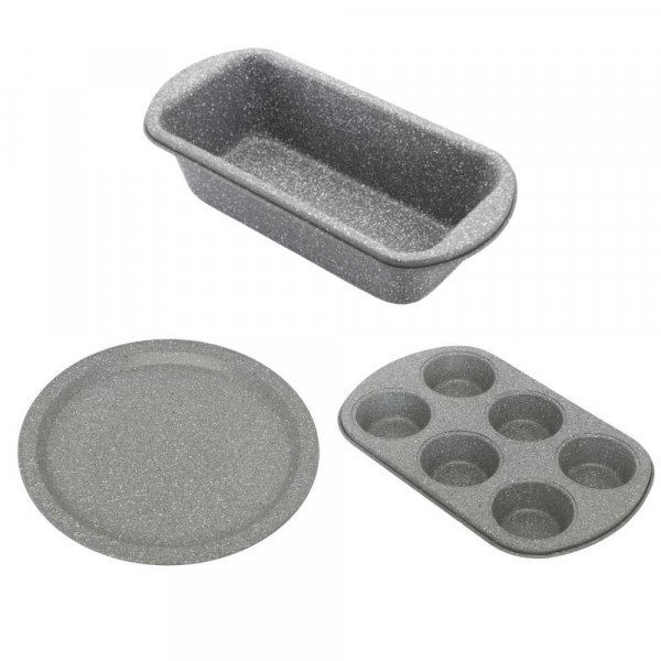 Carbon Steel Stone Ware Non-Stick Coated Baking Big Loaf Pan, Pizza Pan and Muffin Tray - Set of 3