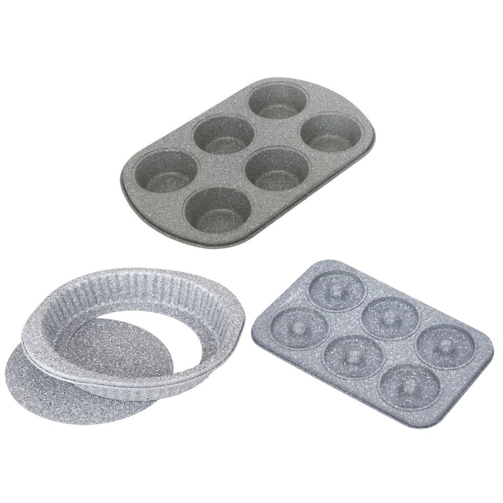 Carbon Steel Stone Ware Non-Stick Coated Baking Muffin Tray, Cake Pan and Donought Tray- Set of 3