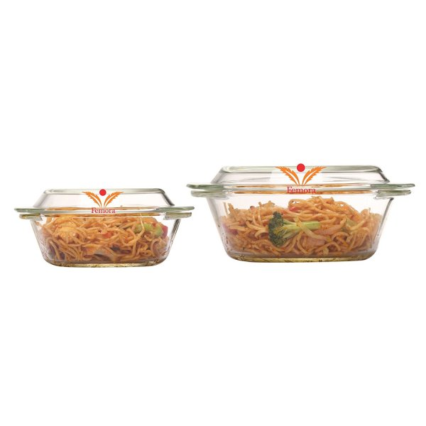 Femora Borosilicate Glass Round Casserole-1000 ml,1550 ml,Set of 2