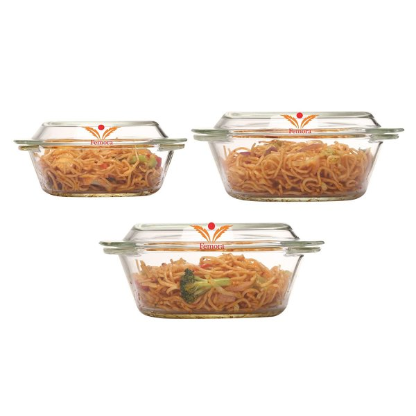 Femora Borosilicate Glass Round Casserole-700ml,1000ml,1550ml,Set of 3