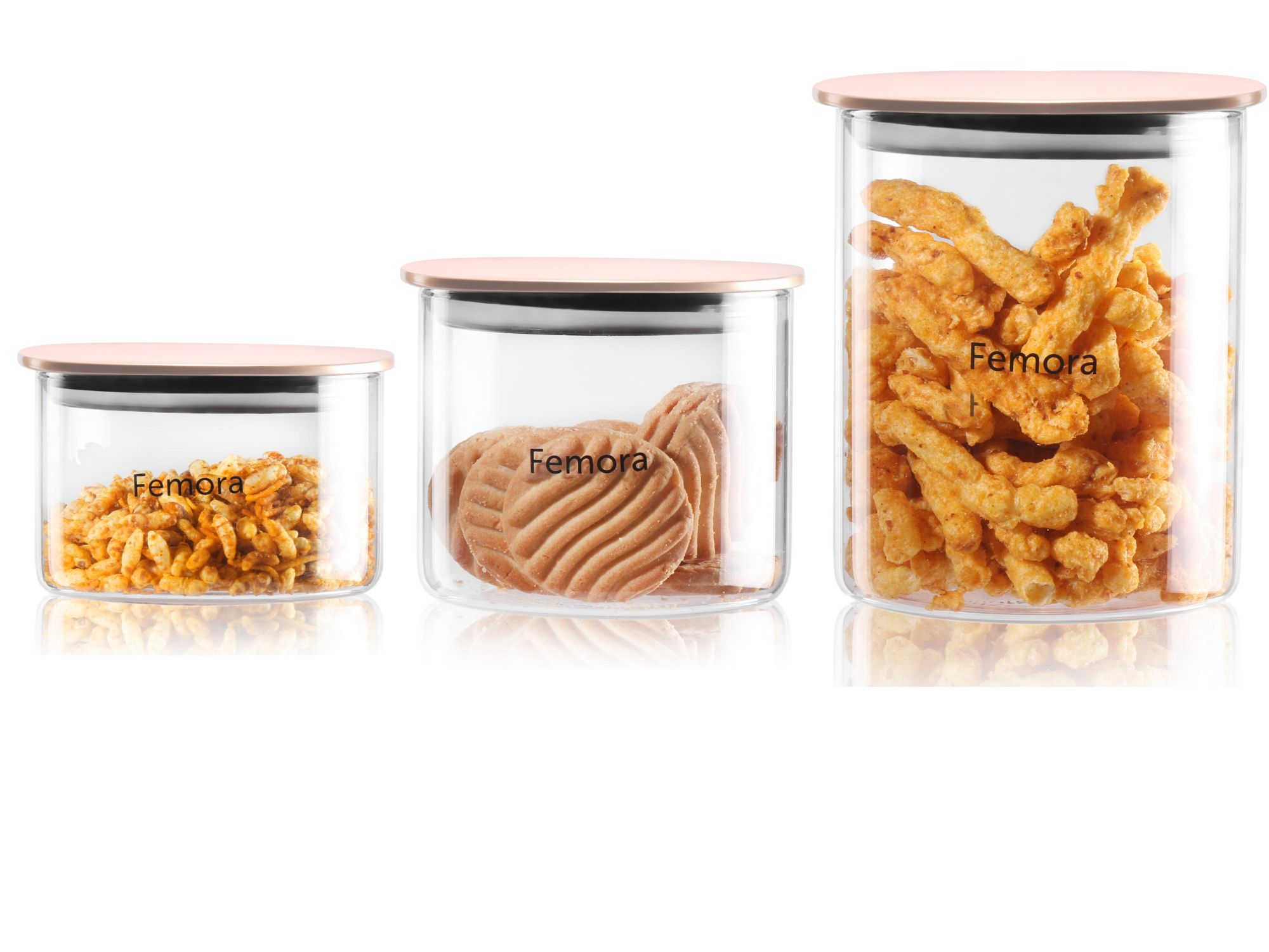 Femora Borosilicate Glass Air Tight Jar With Golden Metalic Lid Set of 3 (Small)