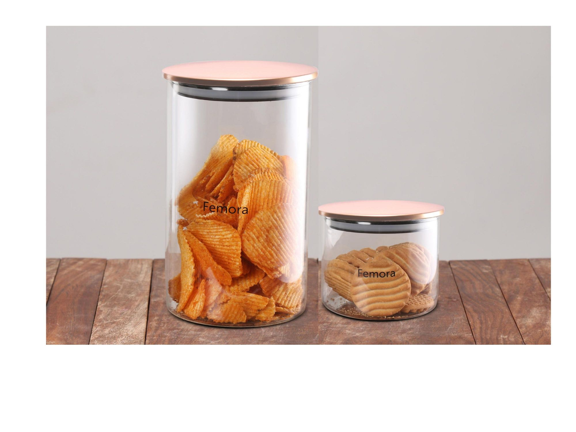 Femora Borosilicate Glass Air Tight Trend Jars with Golden Metalic Lid, 700ml 1300ml