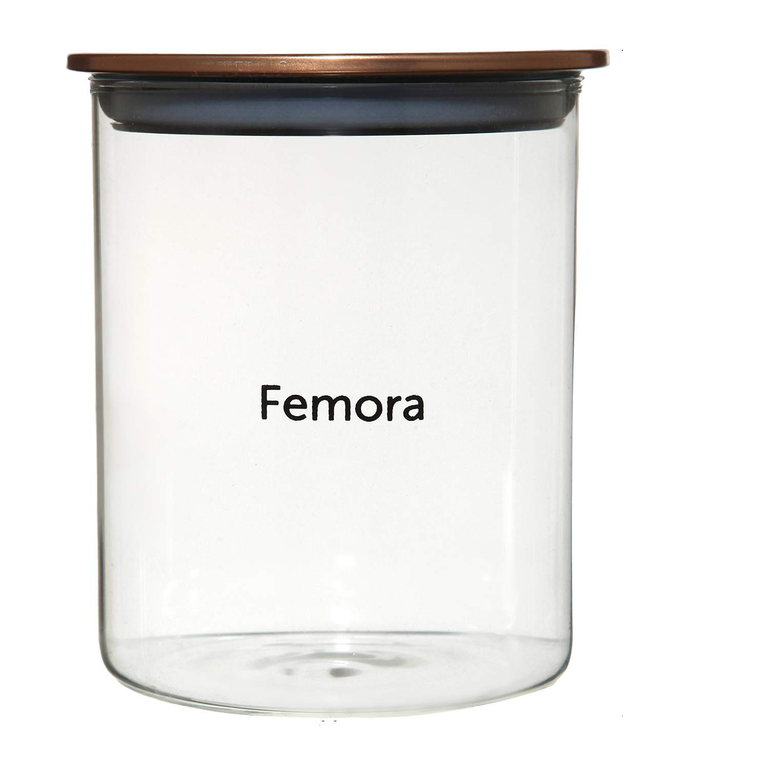 Femora Borosilicate Glass Air Tight Jars Golden Metallic Lid - 990ml