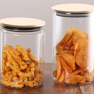 Femora Borosilicate Glass Air Tight Trend Jars with Golden Metalic Lid,  990ml 1300ml