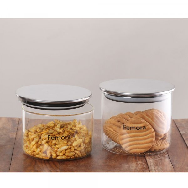Femora Borosilicate Glass Air Tight Trend Jars with Silver Metalic Lid , 550ml 700ml