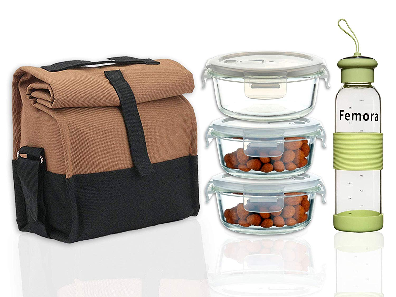 Borosilicate Glass Round Container Camel Black Lunch Box, 380 ML X 3, Bottle- 500 ML X1, Set of 4