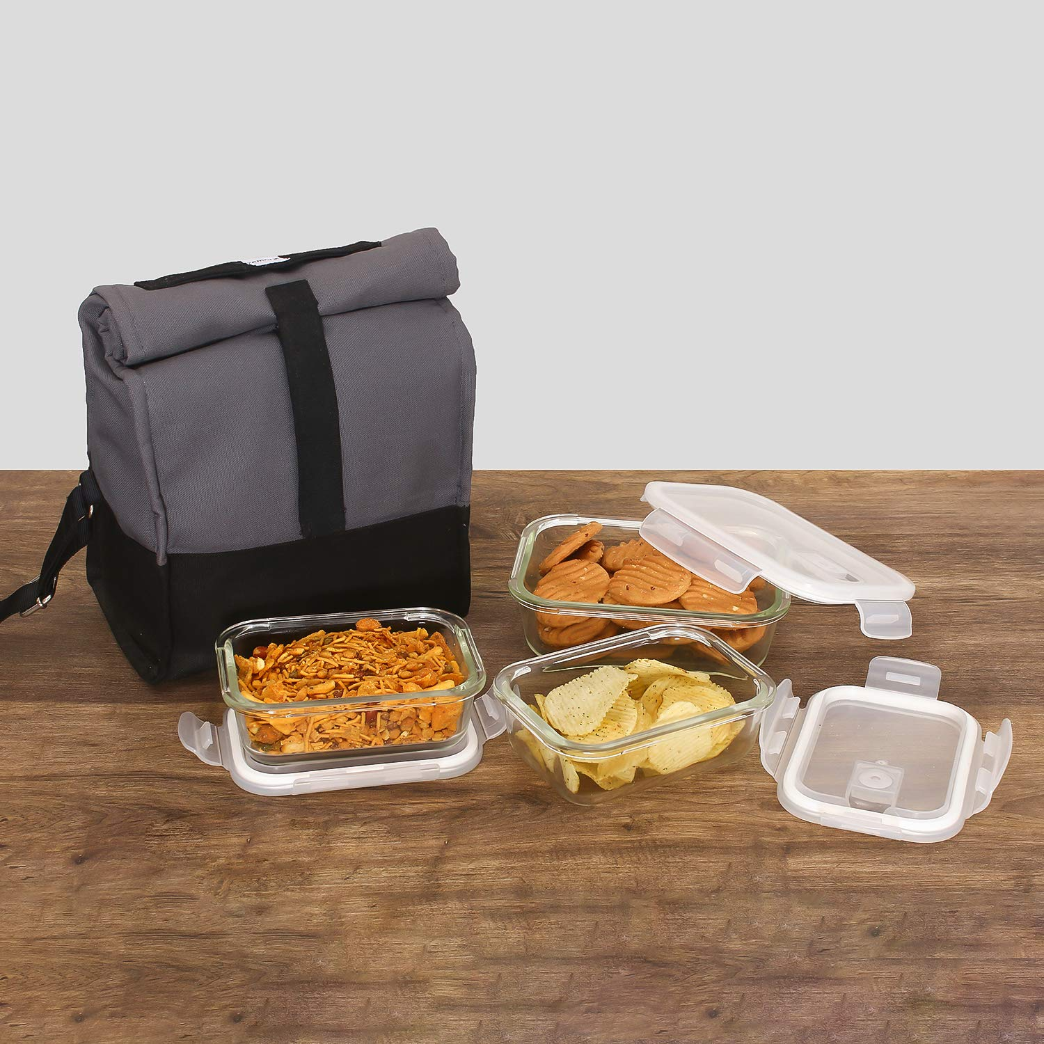 Borosilicate Glass Rectangle Container Grey Black Lunch Box,  400 ML X2, 620ML X1, Set of 3