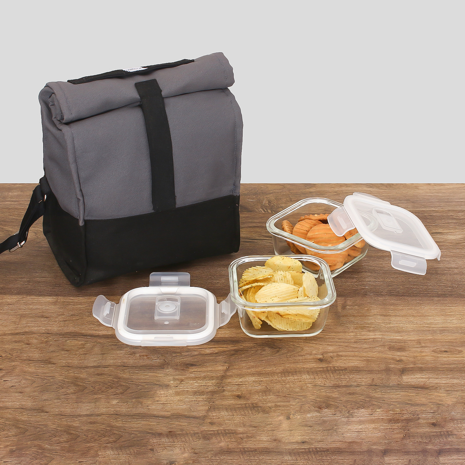 Borosilicate Glass Square Container Grey Black Lunch Box-300 ML, Set of 2