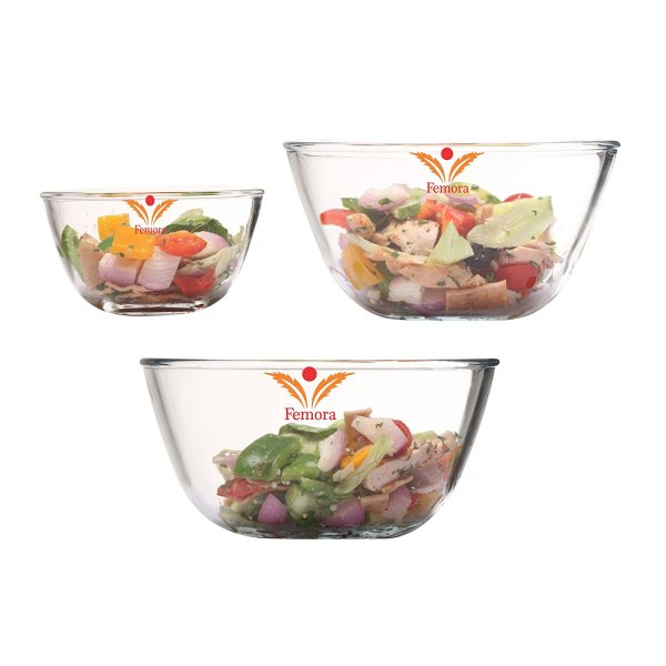 Femora Borosilicate Glass Round Mixing Bowl 1050ml,1650ml,2100ml,Set of 3