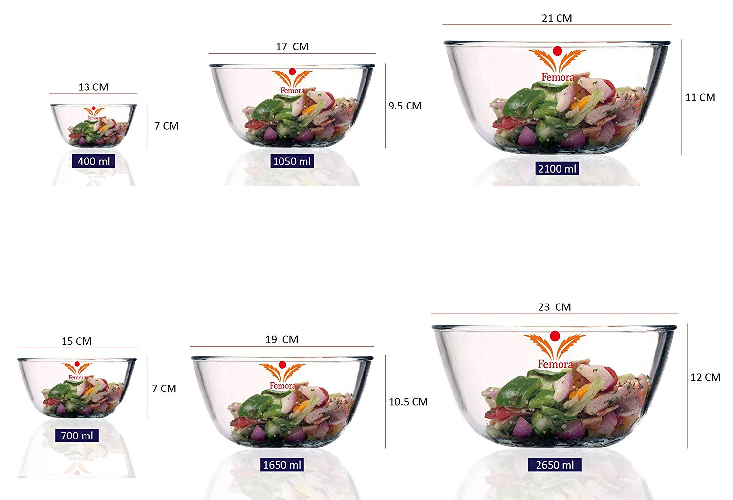 Borosilicate Glass Round Mixing Bowl 1650 ML_2100 ML_700 ML_2650 ML, Set of 4