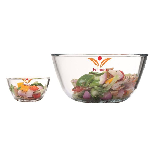 Femora Borosilicate Glass Round Mixing Bowl 400ml,2100ml, Set Of 2