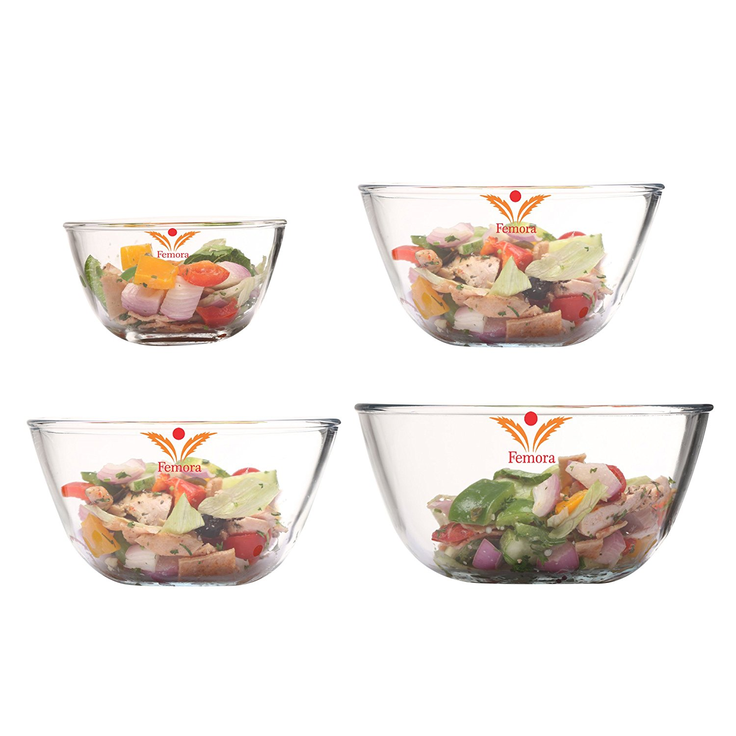 Femora Borosilicate Glass Round Mixing Bowl 400ml,1050ml,1650ml,2100ml, Set of 4