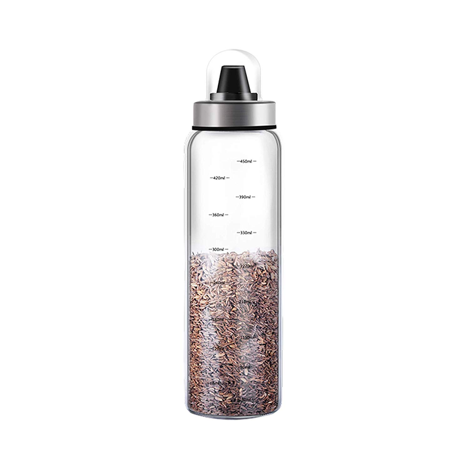Femora Borosilicate Glass Metallic Lid Oil Bottle Jar Dispenser - 500ml, 1 Year Warranty- Set of 2