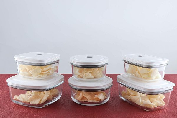 Borosilicate Glass Storage Container with Vacuum Lid- Set of 6