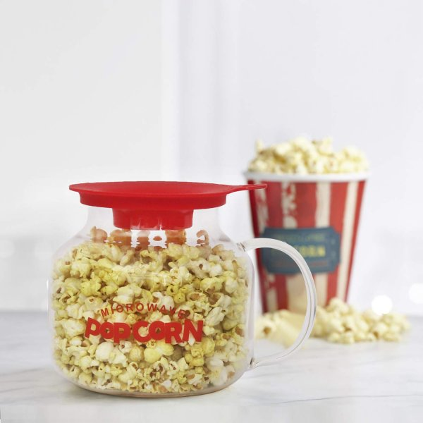 Femora Borosilicate Glass Popcorn Maker with Silicone Lid - 2 L