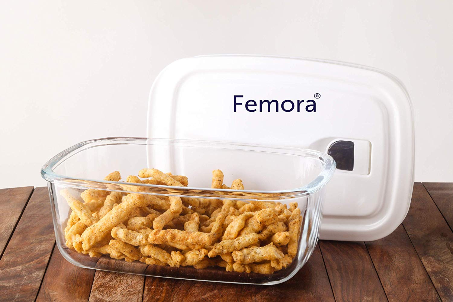 Femora Borosilicate Glass Rectangle Container with Vacuum Lid - 400 ML