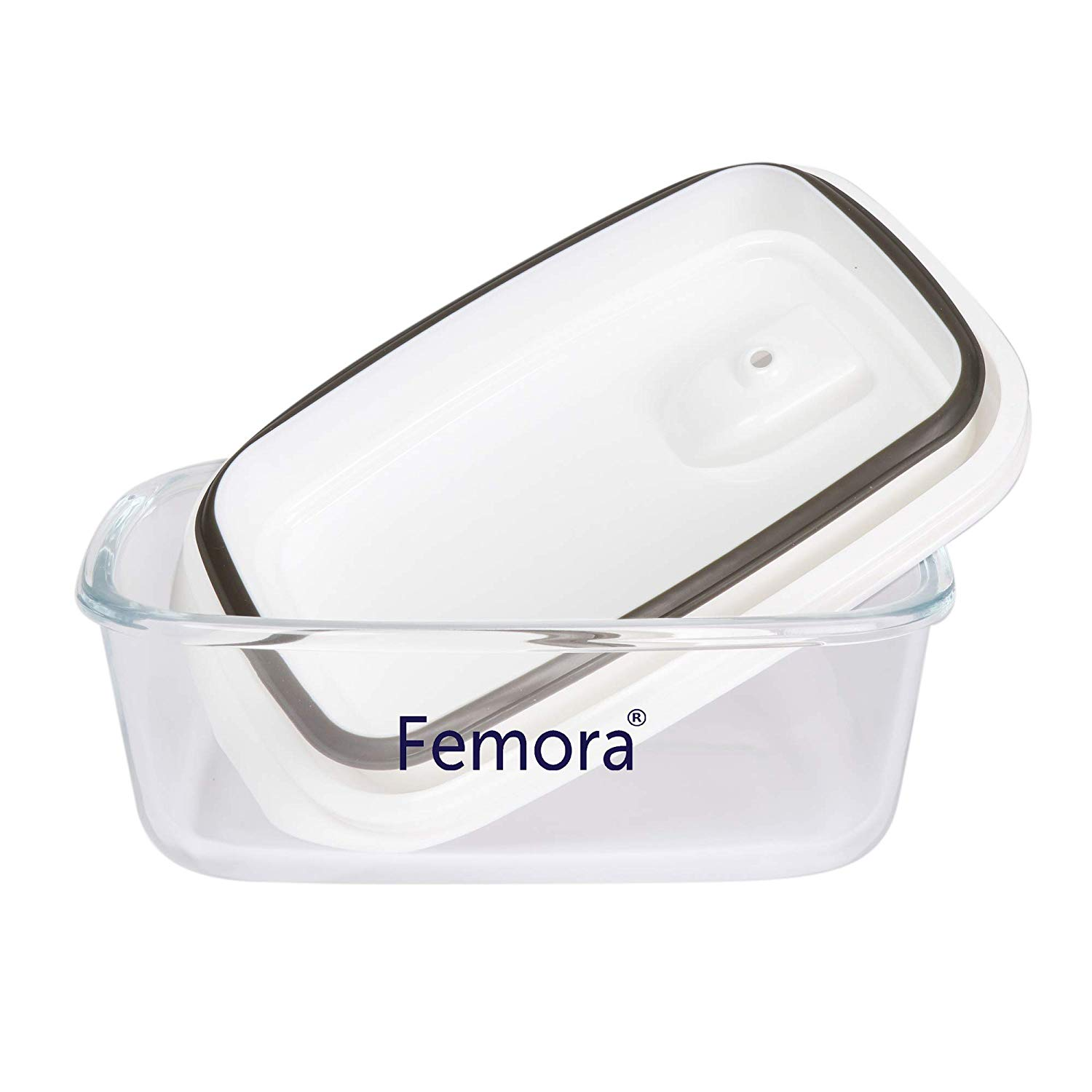 Borosilicate Glass Rectangle Container with Vacuum Lid - 880 ML