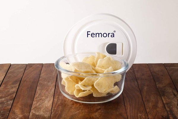 Femora Borosilicate Glass Round Container with Vacuum Lid - 400 ML