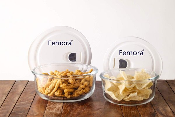 Femora Borosilicate Glass Round Container with Vacuum Lid - 400 ML, 650 ML - Set of 2