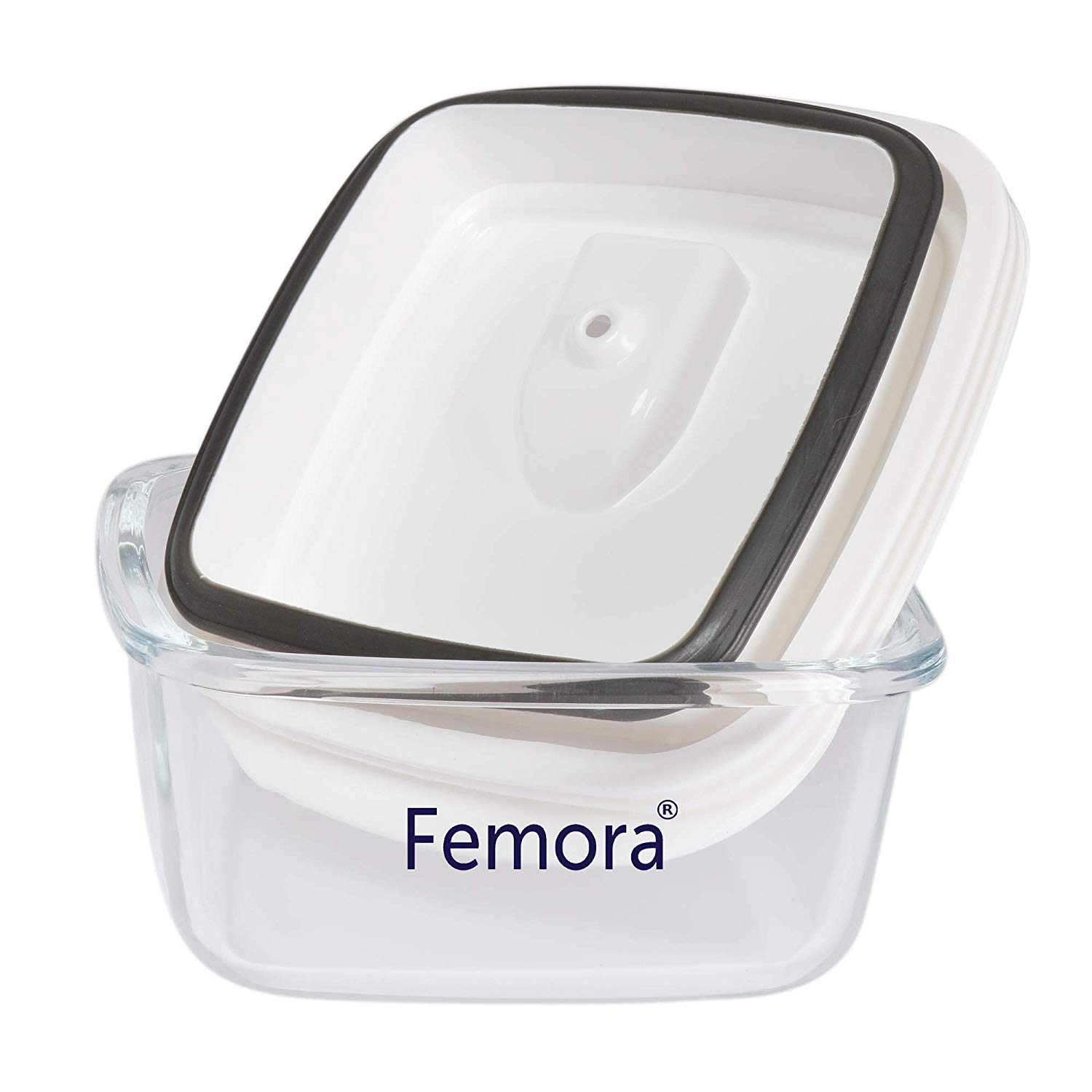 Femora Borosilicate Glass Square Container with Vacuum Lid - 430 ML