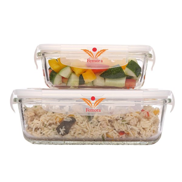 Femora Borosilicate Glass Rectangular Container with Air Vent Lid  620 ML,1000 ML Set of 2