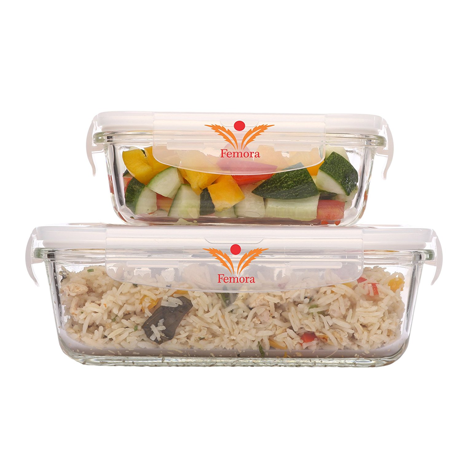 Borosilicate Glass Rectangular Container with Air Vent Lid- 1000 ML, 400 ML, Set of 2
