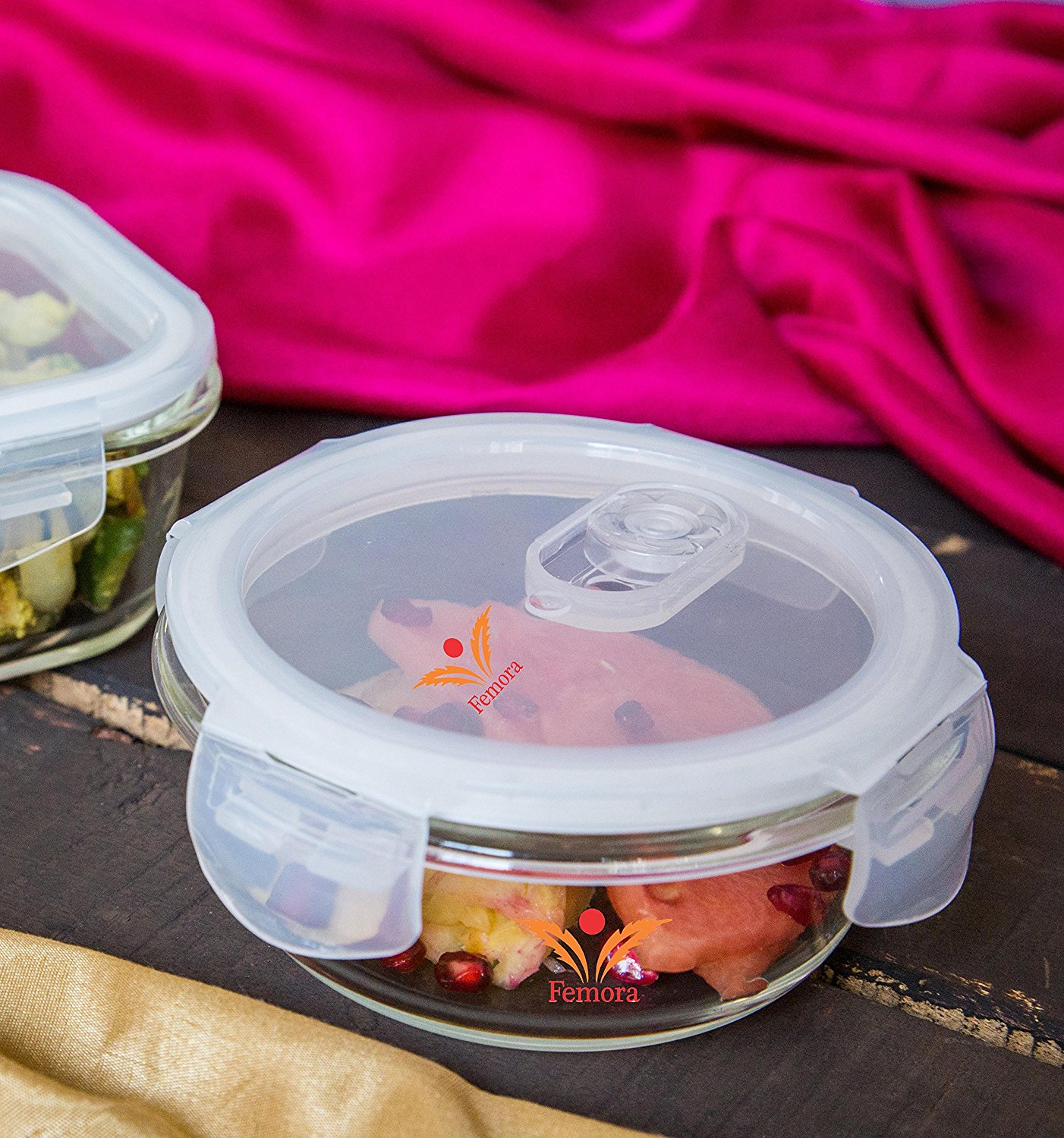 Borosilicate Glass Round Container with Air Vent Lid, 580 ML, 940 ML - Set of 2
