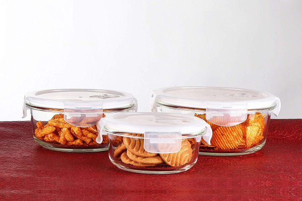 Femora Borosilicate Glass Round Container with Air Vent Lid 380 ML ,580 ML, 940 ML, Set of 3