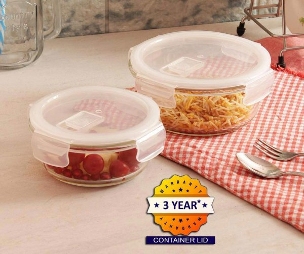 Femora Borosilicate Glass Round Container with Air Vent Lid  380 ML,580 ML Set of 2
