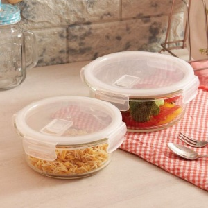 Femora Borosilicate Glass Round Container with Air Vent Lid  580 ML,940 ML Set of 2