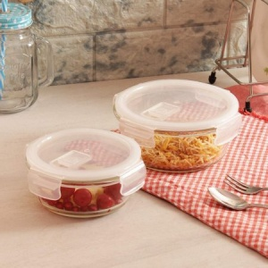 Femora Borosilicate Glass Round Container with Air Vent Lid  940 ML,380 ML Set of 2