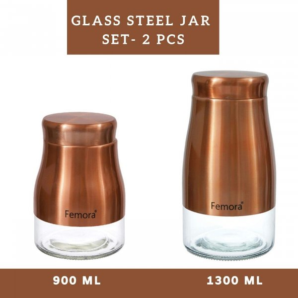 Clear Glass Gold Metallic Steel Jars - 900ML, 1300ML