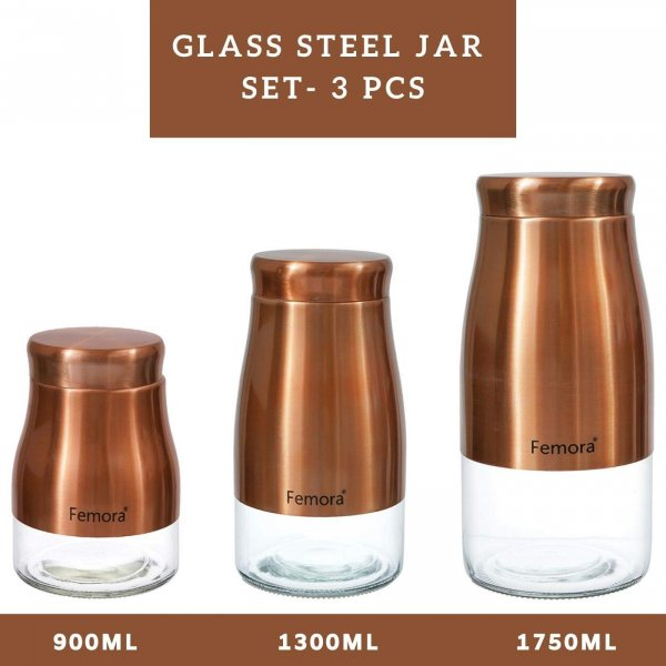 Clear Glass Gold Metallic Steel Glass Jars - 900ML,1300ML, 1750ML