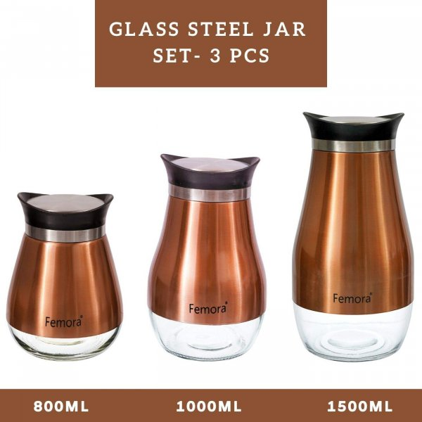 Clear Glass Steel Jar - 800ML, 1000ML, 1500ML